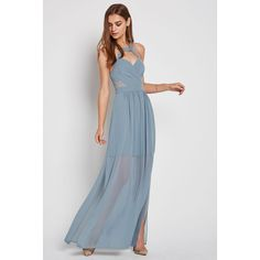 BCBGeneration Surplice Evening Dress ($128) ❤ liked on Polyvore featuring dresses, grey, gray cocktail dress, grey cocktail dress, halter maxi dress, gray dress and wrap maxi dress