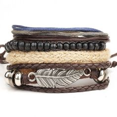 Multi-layer bead Leather bracelet for Men and Women