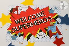 This Welcome sign is available in our Superhero Party Invitation Package!
