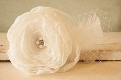 Items similar to Elegant Wedding Hair Clip, Elegant Hair Piece, Russian Net White Chiffon Flower Hair Clip with Rhinestones and White Feather on Etsy Elegant Wedding Hair, Wedding Hair Clips, Flower Hair Clips, Flowers In Hair, Elegant Hairstyles, Wedding Hairstyles, Mom Day, Chiffon Flowers, White Chiffon
