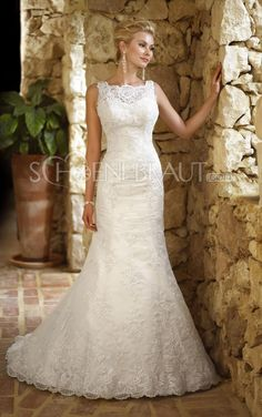 Applikation Organza Meerjungfrau Hochzeitskleid mit Pinsel-Schleppe [#UD8854] - schoenebraut.com