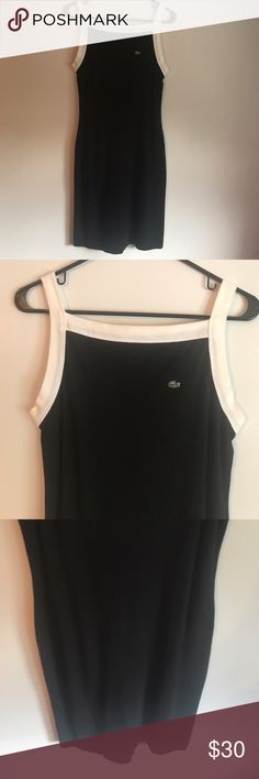 Lacoste Black and White Terry Cloth like Dress Excellent condition. Size 10. The fabric reminds me of terry cloth. Could work as a dress or beach/pool coverup. Lacoste Dresses
