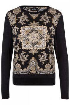 Etro Damen Langarm Shirt mit Muster Schwarz | SAILERstyle Paisley Print, Wool Blend, Roll Neck, Elegant, Long Sleeve, Turtle Neck, Shirts, Sleeves, Blouse