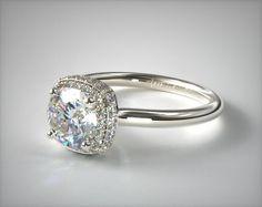 Round Halo Engagement Rings, Engagement Rings Cushion, Engagement Ring Styles, Designer Engagement Rings, Vintage Engagement Rings, White Gold Rings, James Allen, Cushion Cut, Nurses