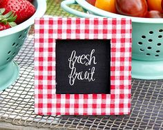 Red Gingham Fabric Photo Frame