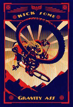 retro mountain bike poster: kick some gravity ass