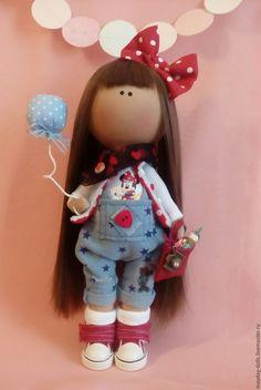 Купить Интерьерная текстильная кукла большеножка Ника - ярко-красный, тильда, интерьерная кукла