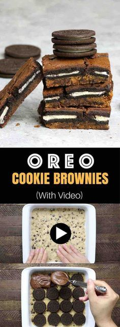 Oreo Stuffed Cookie And Brownie Bars – An easy and fun treats that everyone will love. All you need is a few simple recipes: refrigerated chocolate chip cookie dough, oreos, brownie mix, egg, oil and water. So Good! Party food, party dessert recipes, vegetarian. Video recipe.
