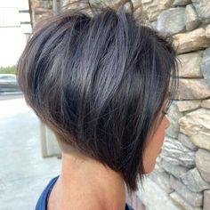 Short Inverted Bob Haircuts, Curly Inverted Bob, Bob Hairstyles For Thick, Bob Haircuts For Women, Thin Hair Haircuts, Haircut For Thick Hair, Short Bobs, Stacked Inverted Bob, Short Pixie Bob