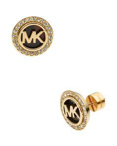 Michael Kors Monogram Tortoise-Print & Pave Stud Earrings | Bloomingdale's