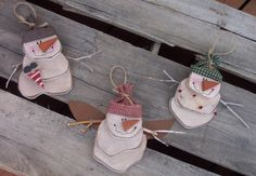 Snowman Christmas Ornaments Wood Craft Pattern For Winter And Christmas