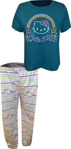 This is classic Hello Kitty at her best! The simply stated neon inspired cropped style top is paired with Hello Kitty striped jogger style bottoms. These jammies are made from premium fabric and are super soft. Best Pajamas, Cute Pajamas, Pajamas Women, Lounge Pants, Lounge Wear, Hello Kitty Characters, Striped Pyjamas, Fashion Joggers, Pjs