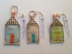 Fabric house keyrings - Vanilla Stitch