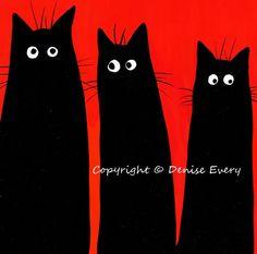 Long Tall Spooky Black Kitties Halloween Cat Art by DeniseEvery