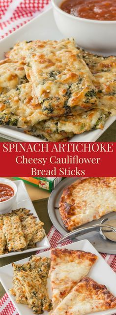 Spinach Artichoke Cheesy Cauliflower Bread Sticks - pack veggies and cheese into this side dish or appetizer recipe inspired by everyone's favorite spinach artichoke dip for a gluten free snack that's fun to eat. Gluten free, low carb, and vegetarian. #ad | http://cupcakesandkalechips.com