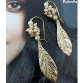 Long_Hook_Moti_Ghungroo_Leaf_earrings