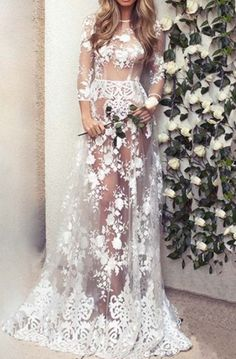 Dress: fashion style trendy white maxi lace romantic summer beautifulhalo