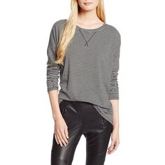Blusa feminina listrada em preto e branco, com mangas compridas e detalhe em costura na gola - BCBGeneration
