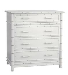 Furniture - Faux Bamboo Four Drawer Highboy Dresser - White ( 28 Finish Options )