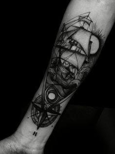 Fish barco Black worck Tattoo by @adrian.higuita