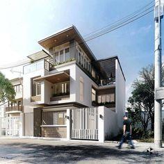 Modern House Exterior by Fresh House Villa Design, Facade Design, Modern House Design, Exterior Design, Fence Design, Building Design, Building A House, Street House, Exterior House Colors