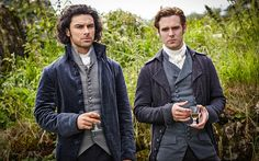 Aidan Turner and Luke Norris as Captain Ross Poldark and Dr Dwight Enys in the BBC One reboot of Poldark