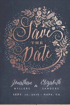 Foil pressed Save The Date cards perfect for glam barn weddings.