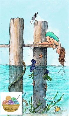 This looks like an adventurous illustration. It is a illustration. Children would love all the different sea creatures. Art And Illustration, Friday Illustration, Book Illustrations, Art Plage, Inspiration Art, Beach Art, Oeuvre D'art, Mail Art, Painting & Drawing