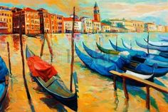 Original oil painting of beautiful Venice Italy on sunset gondolas and houses on canvas Modern Impre Stock Photo