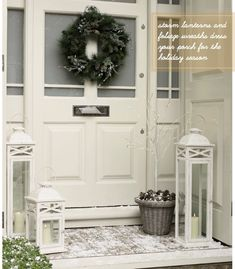 simple christmas decor via bright bazaar holiday, front door entrance, lantern, front door wreaths, christmas front doors, white christmas, christmas decorating ideas, front porches, christmas door