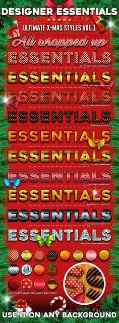 This Designer Essential resource gives you 16  quick & easy ways to apply high quality Christmas Text-Effects to any image or shap
