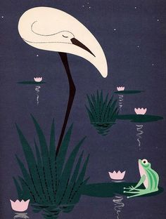 Stork and Frog Illustration