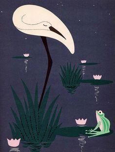 Stork and Frog Illustration