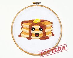 Pancakes Cross Stitch Pattern by TheStrandedStitch on Etsy