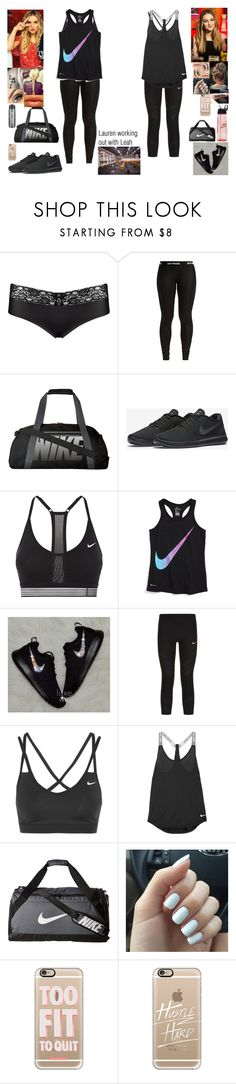 """""""Lauren working out with Leah"""" by safia4life ❤ liked on Polyvore featuring Music Notes, Belle Vie, Wonderbra, Ivy Park, NIKE and Casetify"""