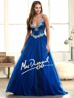 Cobalt Blue Ball Gown   Sparkling Prom Dress   Mac Duggal 65080H