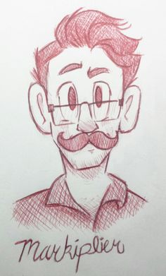 If you know me or have interacted with me for at least five minutes, you would know that I'm a big fan of Markiplier. He helps me laugh whenever I'm in a bad mood or in a sad mood. Thank you Markiplier! Cartoon Sketches, Art Drawings Sketches Simple, Pencil Art Drawings, Cartoon Art Styles, Cool Drawings, Character Sketches, Character Design Animation, Character Drawing, Doodle Art
