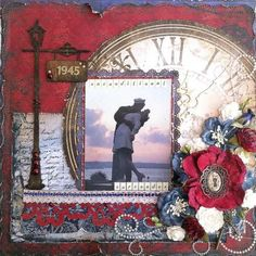 Good use of a variety of elements, street light to hold date, clock and flowers