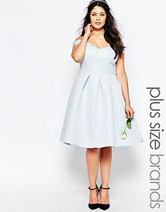 Chi Chi London Plus Bardot Neck Midi Prom Dress