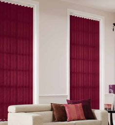 Matching vertical blind slats in a rosey red hue to soft furnishings can be an inexpensive and beautiful way to warm up your home this Autumn. Call us on 01544 318488 or e-mail sales@blindspares.co.uk for insulation properties on any of our fabrics and free samples!