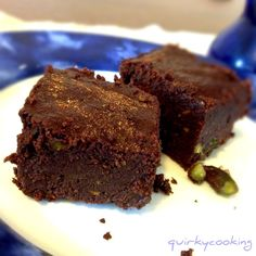 Quirky Cooking: Chocolate Espresso Brownies and Chocolate Pistachio Brownies (Gluten Free) Flourless Chocolate Brownies, Chocolate Brownie Cookies, Espresso Brownies, Chocolate Espresso, Healthy Sweet Treats, Healthy Sweets, Healthy Eating, Healthy Recipes, Pan Dulce