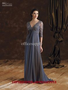 Wholesale chiffon A-line Lace Mother of the Bride Dress gown with 3/4 Long Sleeve 29980, Free shipping, $95.2-112.0/Piece | DHgate