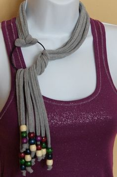 Beaded Tshirt Necklace Scarf Gray by Handmadebyjojaecks on Etsy, Scarf Necklace, Fabric Necklace, Scarf Jewelry, Textile Jewelry, Fabric Jewelry, Diy Necklace, Leather Jewelry, Necklaces, Jewelry Crafts