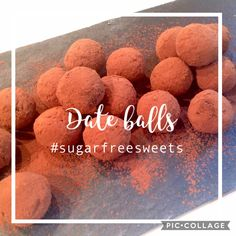 Healthy sugar-free date truffles with almonds, cocoa and orange 🍊. Date Balls, Sugar Free Sweets, Healthy Sugar, Sourdough Bread, Almonds, Truffles, Dog Food Recipes, Cocoa, Dating