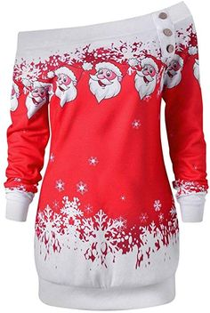 116874553574 Amazon.com: BCDshop Christmas Top, Women Christmas Xmas Santa Snowflake  Print Long Sleeve