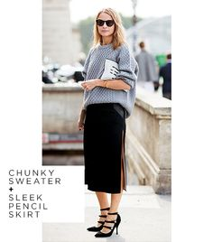chunk sweater and pencil skirt - definitely going to have to replicate this in fall/winter