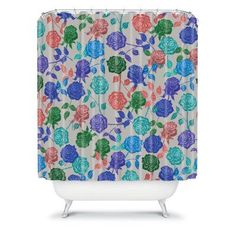 DENY Designs Bianca Green Roses Shower Curtain - 12630-SHOCUR