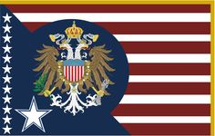 """A remake of my old """"If America was a monarchy"""" Flag. Alternate History, National Flag, America, Flags, Map, Movie Posters, Internet, Location Map, Film Poster"""