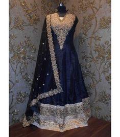 Navy Blue Color Indian Ethnic Designer Anarkali Salwar Kameez for Wedding Lehenga Online, Salwar Kameez Online, Navy Blue Color, Red Color, Anarkali Lehenga, Designer Anarkali, Embroidered Silk, Indian Ethnic, Silk Sarees