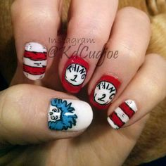 Dr. Seuss inspired nails. Thing 1 and Thing 2. Cat in the Hat nail art. Happy Read Across America Day!